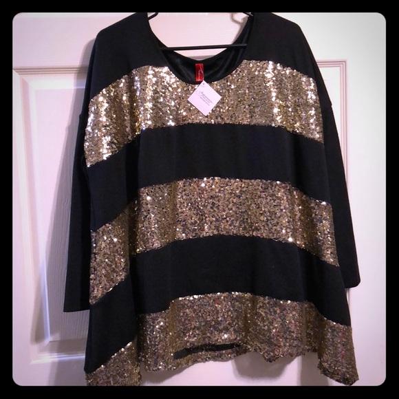 f7c9bb964a4 Fashionomics Tops   Blackgold Sequin 34 Sleeve Tunic   Poshmark